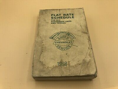 1968 Chevrolet Chevy Flat Rate Schedule Passenger Trucks Labor Guide Manual