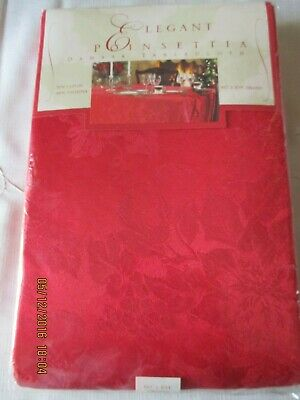 "ELEGANT POINSETTIA DAMASK RED TABLECLOTH*60"" x 104""OBLONG*BROWNSTONE*NEW SEALED*"