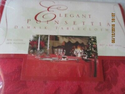 "ELEGANT POINSETTIA DAMASK RED TABLECLOTH*60"" x 84""OBLONG*BROWNSTONE*NEW SEALED*"