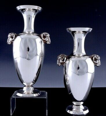 SUPERB & VERY RARE c1853 TIFFANY & CO AMERICAN STERLING SILVER RAM FIGURAL VASES