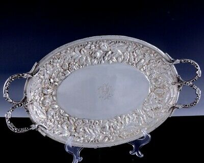 FINE LARGE c1880 KIRK STEIFF ROSE REPOUSSE STERLING SILVER HANDLED SERVING TRAY