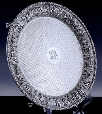 c1900 KIRK & SON AMERICAN REPOUSSE STERLING SILVER CLAW FOOT SERVING SALVER TRAY