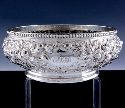 QUALITY THICK c1880 S KIRK & SON REPOUSSE STERLING SILVER SERVING BOWL DISH