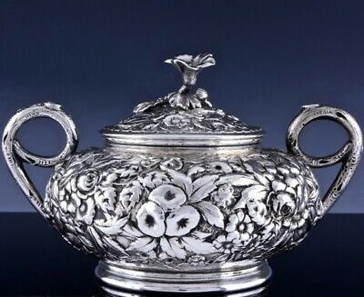 TOP QUALITY c1884 KIRK & SON AMERICAN REPOUSSE STERLING SILVER LIDDED SUGAR BOWL