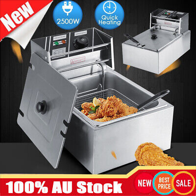 6L Commercial Electric Deep Fryer Countertop Basket Fat Chip Stainless Steel AU