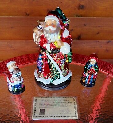 3 Pc Set Thomas Pacconi Blown Mercury Glass Santa & Kids Christmas Holiday Decor