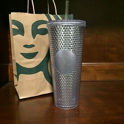 Starbucks Holiday 2019 Venti Bling Platinum Silver Studded Cold Cup Tumbler NEW