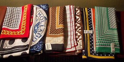 Preowned ~ 8 Assorted Women's Silky Scarves ~ Neck Or Head Wear ~ Some Designer