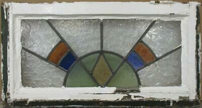 "OLD ENGLISH LEADED STAINED GLASS WINDOW Gorgeous Geometric Design 22.5"" x 12"""