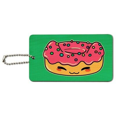 Cute Kawaii Cat Donut Wood Luggage Card Suitcase Carry-On ID Tag