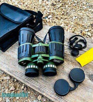 60x50 Day / Night Prism Black and Green Military Binoculars with Pouch New