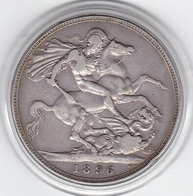 1896    Queen  Victoria   Large  Crown / Five Shilling Silver  Coin