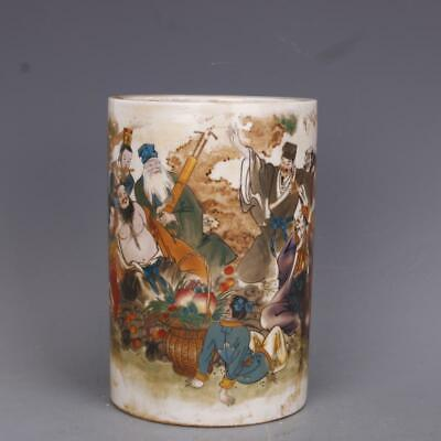 """Old Chinese qing guagxu marked famille rose Eight Immortals brush pot 5.7"""""""