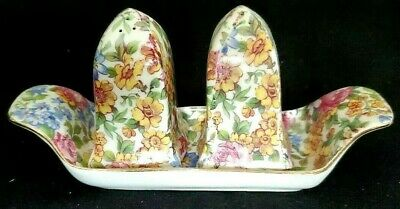 Floral Chintz Erphila Czeck Devon Salt Pepper Tray Set Portland Vintage