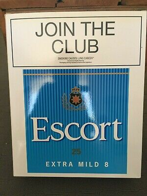 Escort Cigarettes Shop Display Box Early 2000s 36cm High Excellent Condition.