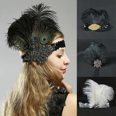 Retro Feather 1920s Flapper Headband Headpiece Great Gatsby Hairband Accessories
