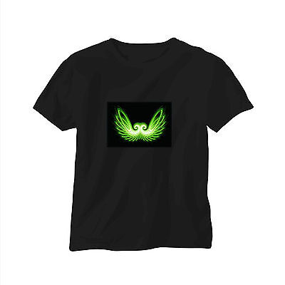 Sound Activated EL LED T-Shirt Tee Tshirt Wings Music Flashing Dancer Party DJ