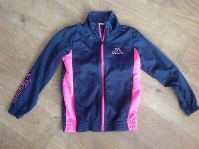 Kappa Girls Age 8 Years Navy Blue Tracksuit Top Pink Trim D319