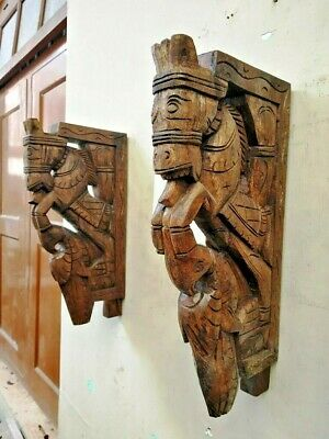 Horse Wall Corbel Pair Bracket Wooden Sculpture Peacock Statue Wall Shelf Decor