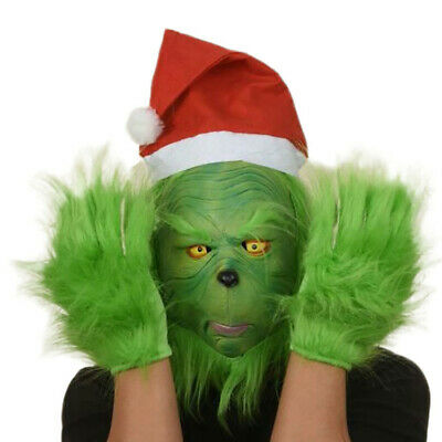 The Grinch Full Head Latex Mask Wig And Xmas Hat Monster Adult Costume Gloves