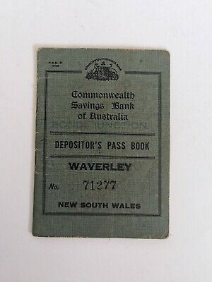 Commonwealth Savings Bank Of Australia Depositor's Pass Book 1930's Bondi Bank