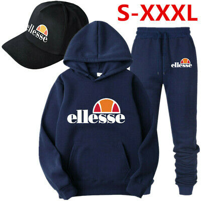 Fleece Hoodie Pants Ellesse Men Tracksuits Sets Tops Bottoms For Gym Jogging