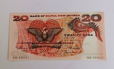 Bank Of Papua New Guinea 20 Kina Paper Banknote Note