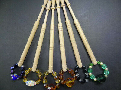 Lace bobbins 6 spangled smooth wood Mint condition