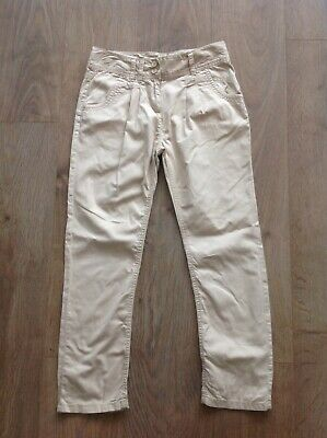 Next Girls Age 12 Years Beige Trousers 100% Cotton Adjustable Waist E895