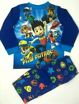 BNWT Boys Toddlers Paw Patrol 100% Cotton Blue Full Length Long Pyjamas Pjs  Set