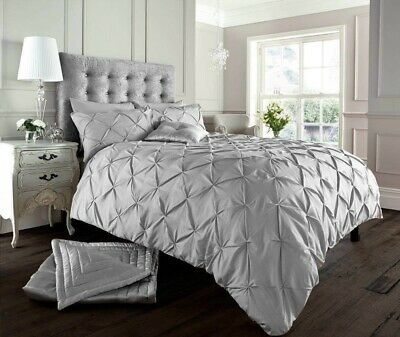 Pintuck Duvet Cover Double Grey Bedding Double Bed Polycotton Double Duvet Cover