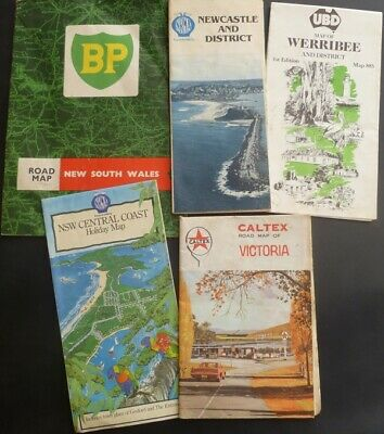 Old Collectable Vintage NSW & Vic Road Maps 1960 – 1980s. BP, Caltex, NRMA, UBD