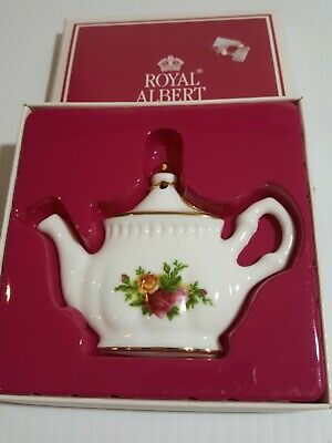 1998 Vintage Royal Albert Old Country Roses Teapot Christmas Ornament, Boxed