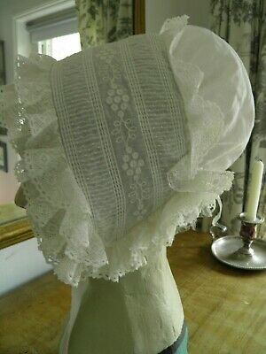 Early 19thc Muslin & Linen embroidered cap for a young girl c1810