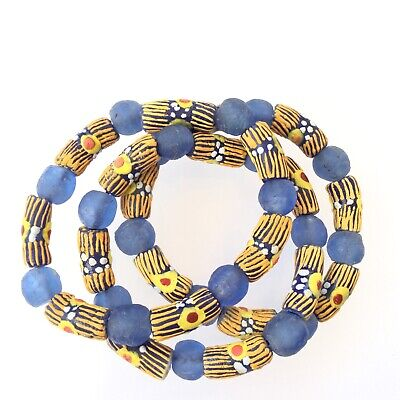 Handmade Ghana Fancy Yellow/Blue multi bracelet-African Trade Beads-Ghana
