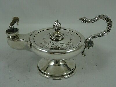 `GENIE LAMP` solid silver TABLE LIGHTER , c1929, 166gm