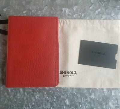 Shinola, Small Journal Cover Passport Holder, Red Leather, USA, NWT $150