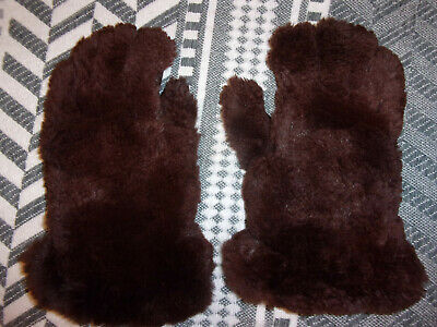 VINTAGE BROWN TEDDY BEAR RABBIT FUR LINED GAUNTLET LEATHER GLOVES by DOMINANT L
