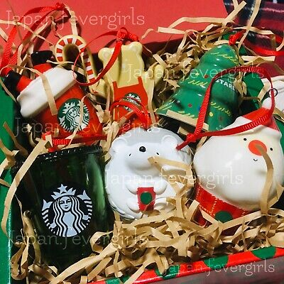 NEW!! Japan Starbucks Holiday Christmas Ornament Complete Set 2019