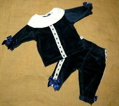 Baby Boys Girls Spanish Romany Navy Velvet Ribbon Bows Top & Trousers Outfit