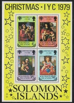 Solomon Is. International Year of the Child 'Madonna and Child' paintings MS MNH