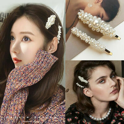 2019 Hot Korean Girl Pearl Metal Clip Hairband Bobby Barrette Hairpin 2 Pcs