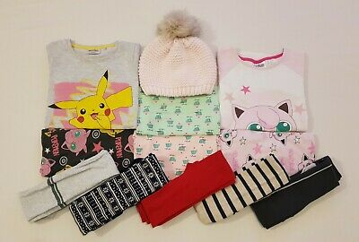 Girls NEXT Winter Clothes Bundle Bobble Hat, PJs, Tights, Vests Pokemon 7-8 Year