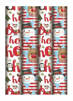 4 x 8M ROLLS CUTE REINDEER SNOWMAN XMAS CHRISTMAS GIFT WRAP WRAPPING PAPER ROLL