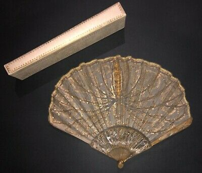 Superb Antique French Art Nouveau Carved Blond Horn Embroidered Butterfly Fan