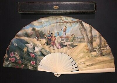 Great Large Antique French Art Nouveau Hand Painted Carnival Scene Fan