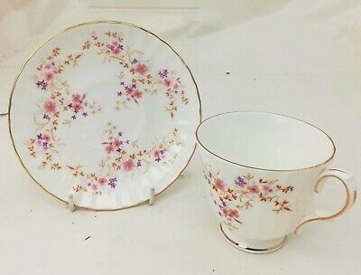 Duchess Spinney Teacup & Saucer Pink Floral Gold Trim England Bone China