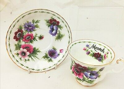 Vintage Royal Albert Teacup & Saucer Anemone Pattern Flower of the Month Series