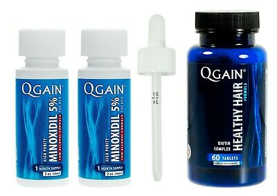 Qgain High Purity Minoxidil 5% LOW ALCOHOL for MEN 2 month supply 2 x 60mL