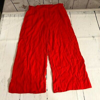H&M Women Capri Cropped Casual Pants Size 10 Solid Red 100% Viscose - C138